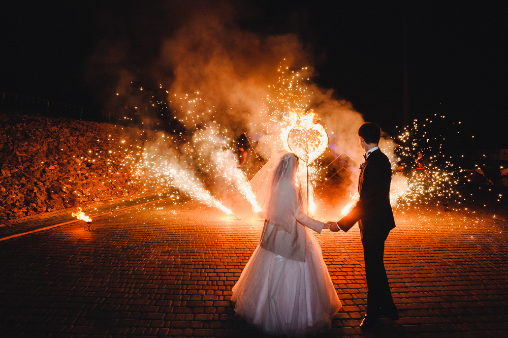 Hochzeitsfotos mit Feuerwerk