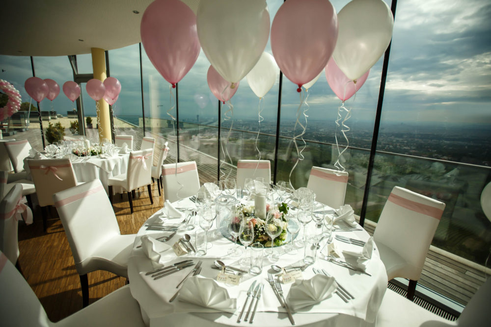 Hochzeitsluftballons Tischdekoration